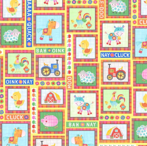 BLANK TEXTILES - Oink, Moo, Cock-A-Doodle Doo! - Yellow