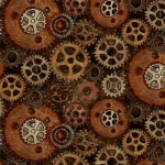 BLANK TEXTILES - Unknown Voyage - Gears - Chocolate