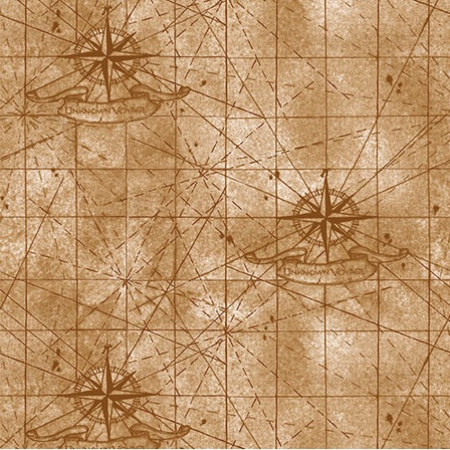 BLANK TEXTILES - Unknown Voyage - Map Background Fawn