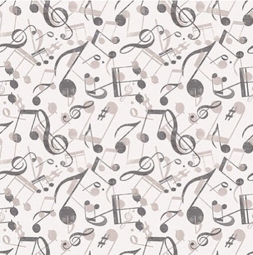 BLANK TEXTILES - Let The Music Play - Musical Notes