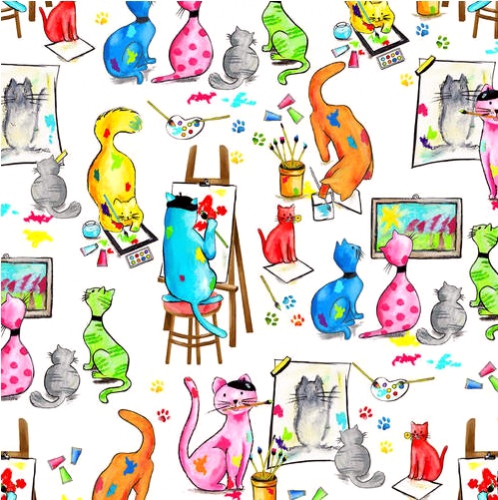 BLANK TEXTILES - Pablo Picatso - Artist Cats White