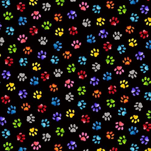 BLANK TEXTILES - Pablo Picatso - Paw Prints Black