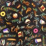 BLANK TEXTILES - Brewed Awakenings - Coffee Words Charcoal
