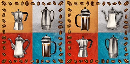 BLANK TEXTILES - Brewed Awakenings - Coffee Pots Gray