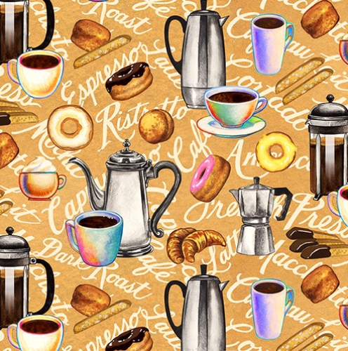 BLANK TEXTILES - Brewed Awakenings - Coffee Motifs Tan