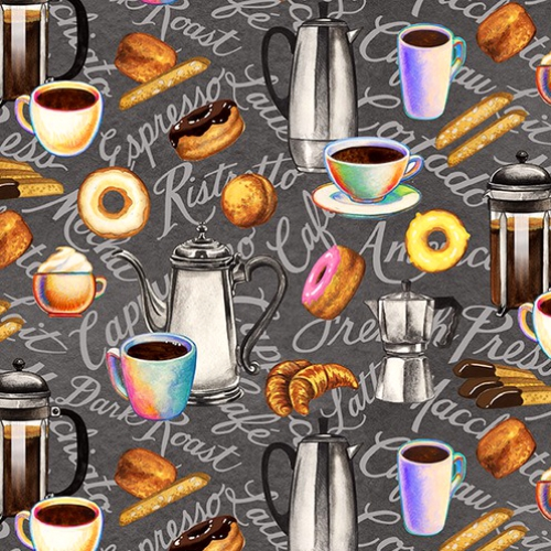 BLANK TEXTILES - Brewed Awakenings - Coffee Motifs Gray
