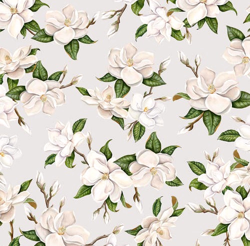 BLANK TEXTILES - Magnolia Mania - Large Magnolia - Lt Gray