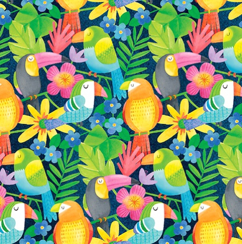 BLANK TEXTILES - Tropical Zone - Parrots with Flowers Blue