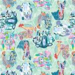 BLANK TEXTILES - Udder Chaos - Animal Hexagon Mint