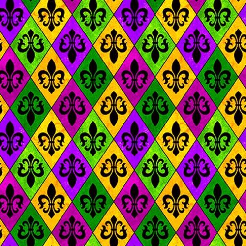 MODA FABRICS - Spring Jubilee - Mardi Gras Fleur de Lis - Purple