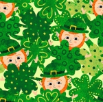 BLANK TEXTILES - Spring Jubilee - Leprechauns With Clovers - Green