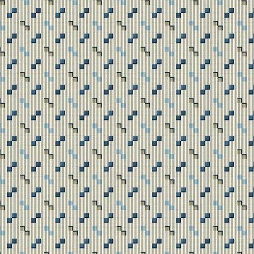 ANDOVER - Royal Blue by Laundry Basket - Square Dance - Greige