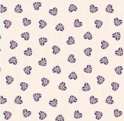 LEWIS & IRENE - Britannia - Union Jack Hearts Cream