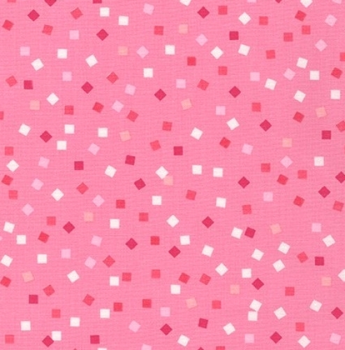 KAUFMAN - Girl Friends - Tossed Squares Hot Pink