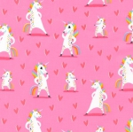 KAUFMAN - Magical Rainbow Unicorns - Pink - Unicorns