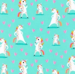 KAUFMAN - Magical Rainbow Unicorns - Mint - Unicorns