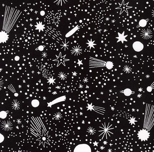 KAUFMAN - Magical Rainbow Unicorns - Black - Stars