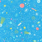 KAUFMAN - Magical Rainbow Unicorns - Blue - Stars