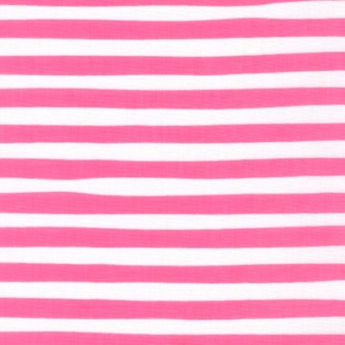 KAUFMAN - Magical Rainbow Unicorns - Pink - Pink & White Stripe