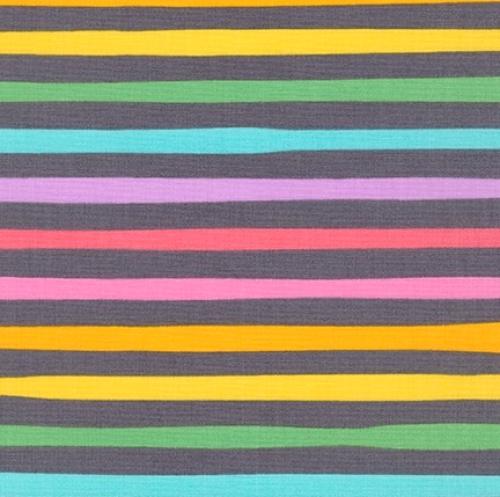 KAUFMAN - Magical Rainbow Unicorns - Charcoal - Charcoal & Rainbow Stripe