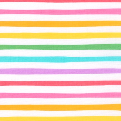 KAUFMAN - Magical Rainbow Unicorns - Rainbow - Rainbow & White Stripe