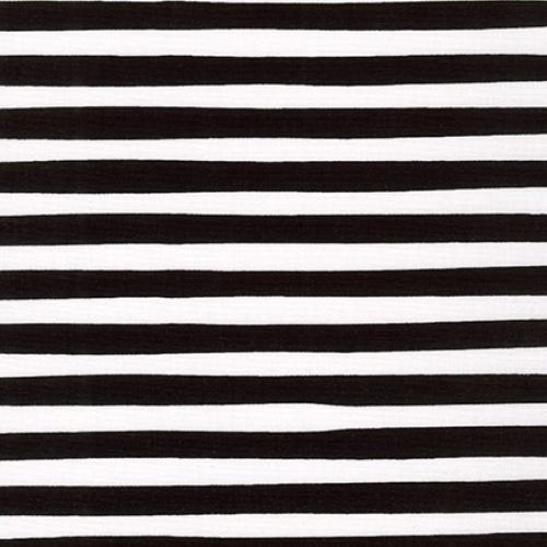 KAUFMAN - Magical Rainbow Unicorns - Black - Black & White Stripe