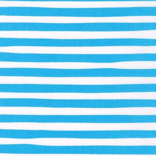 KAUFMAN - Magical Rainbow Unicorns - Blue - Aqua & White Stripe