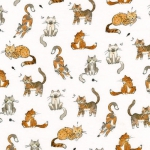 KAUFMAN - Whiskers & Tails - Digital Print - White - FB7910-