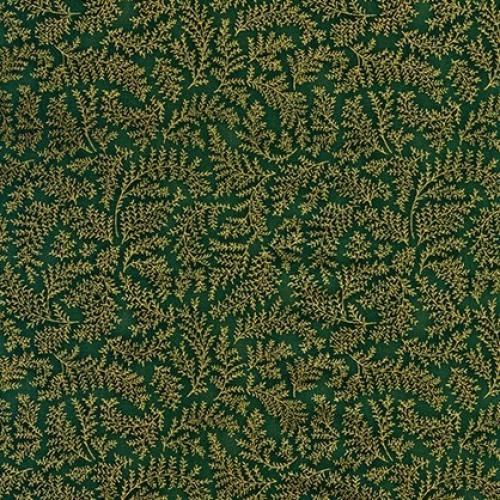 KAUFMAN - Holiday Flourish  Metallic 12 - Green