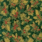 KAUFMAN - Holiday Flourish  Metallic 12 - Green