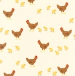 KAUFMAN - What Do The Animals Say - Chickens Beige