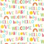 KAUFMAN - Welcome Baby - FLANNEL - Multi Cream