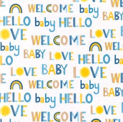 KAUFMAN - Welcome Baby - FLANNEL - Blue