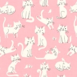 KAUFMAN - Whiskers & Tails - Kitty Pink - #1895-