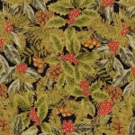 KAUFMAN - Glitz and Pine - Metallic - Holly Leaves