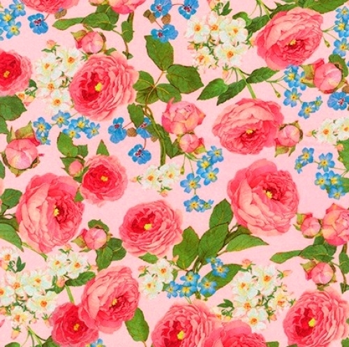 KAUFMAN - Farmhouse Rose - Large Floral Pink