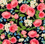 KAUFMAN - Farmhouse Rose - Large Floral Black - #2703-