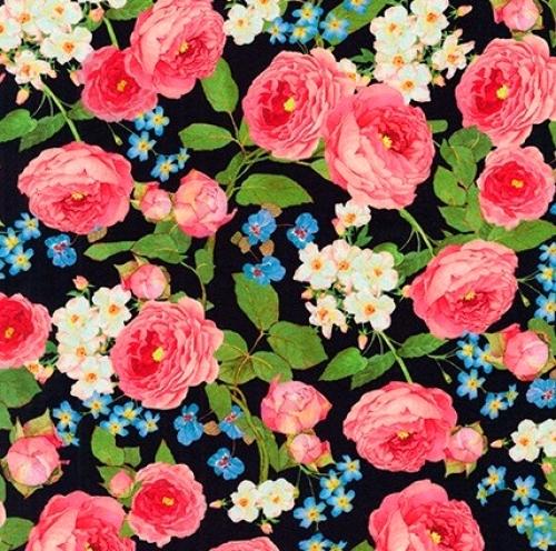 KAUFMAN - Farmhouse Rose - Large Floral Black - #2703-