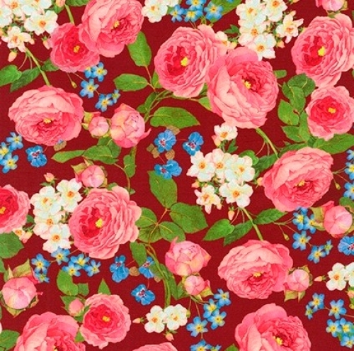 KAUFMAN - Farmhouse Rose - Large Floral Red