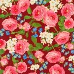 KAUFMAN - Farmhouse Rose - Large Floral Red - #2709-