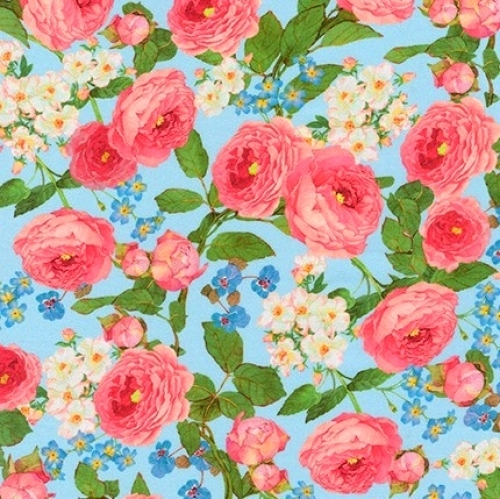 KAUFMAN - Farmhouse Rose - Large Floral Blue