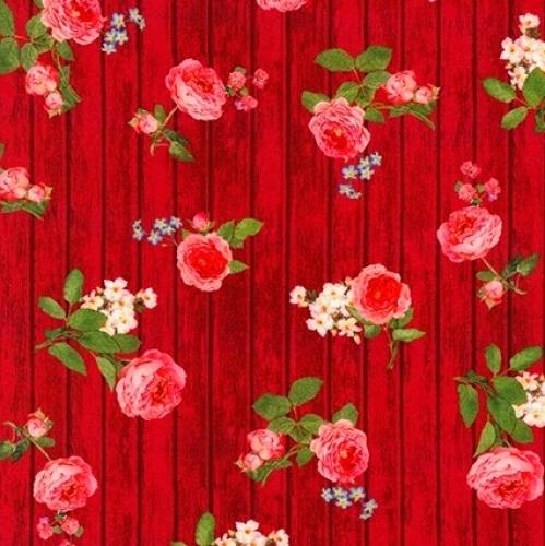 KAUFMAN - Farmhouse Rose - Red