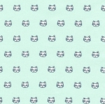 KAUFMAN - Whiskers & Tails - Kitty Face Aqua - #1899-