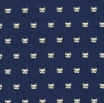 KAUFMAN - Whiskers & Tails - Kitty Face Navy - #1898-