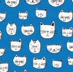 KAUFMAN - Whiskers & Tails - Kitty Blue - #1901-