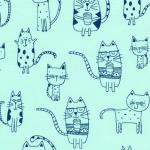 KAUFMAN - Whiskers & Tails - Aqua - FB7912-