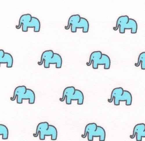 KAUFMAN - Little Safari 2 - Blue Elephants - FLANNEL