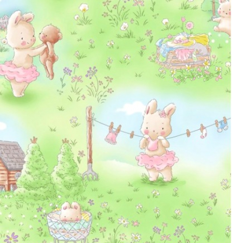 TIMELESS TREASURES - Bunnies - Bunny In The Meadow - Multi