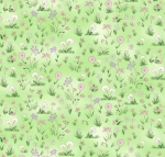 TIMELESS TREASURES - Bunnies - Meadow Flowers - Green