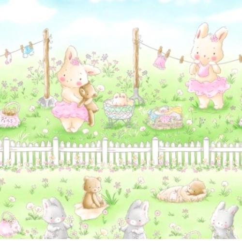 TIMELESS TREASURES - Bunnies - Friendship Blossom - Multi